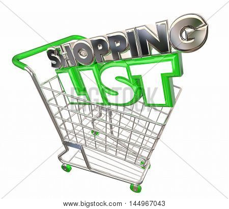 Shopping List Cart Buy Purchase Store Customer 3d Illustration