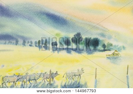 Watercolor original landscape painting many herds of cow in yellow prairie and mountian background