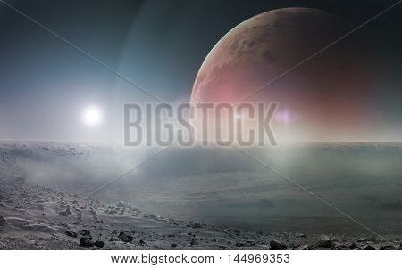 View of Mars from Phobos. Elements of this image furnished by NASA