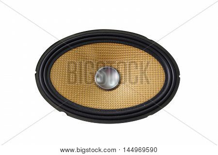 Yellow old and dusty car audio speaker isolated on white background
