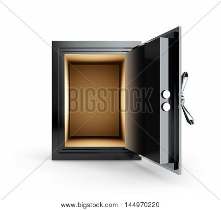 Open empty safe box isolated on white background - 3D Rendering