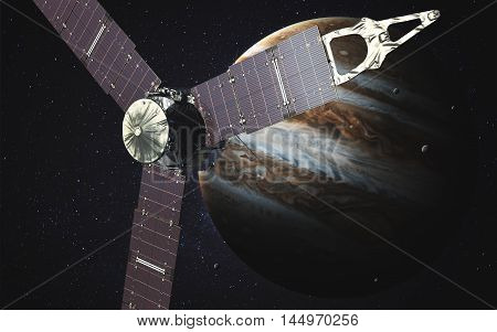 Juno sattelite orbiting Jupiter. Elements of this image furnished by NASA
