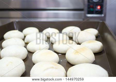 Chinese Pastry Mung Bean On Tray Have Oven As Background