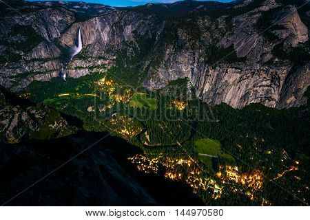 Half Dome Village And Falls At Night