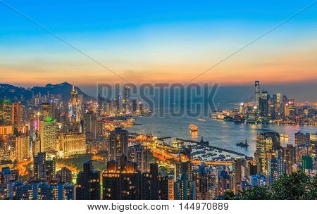VIEW HONG KONG HARBOUR AT NIGHT LIGHT