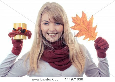 Vintage Photo, Smiling Girl In Gloves Holding Decorated Cup Of Tea And Autumnal Leaf