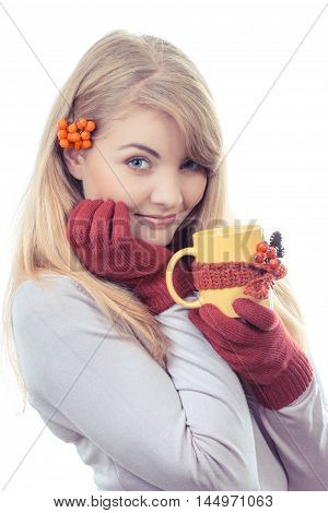 Vintage Photo, Happy Smiling Girl In Woolen Gloves Holding Cup Of Tea Wrapped Scarf