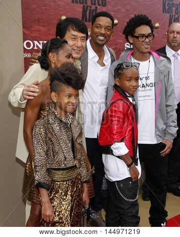 Jackie Chan, Will Smith, Jada Pinkett Smith, Willow Smith and Jaden Smith at the Los Angeles premiere of 'The Karate Kid' held at the Mann Village Theater in Westwood, USA on June 7, 2010.
