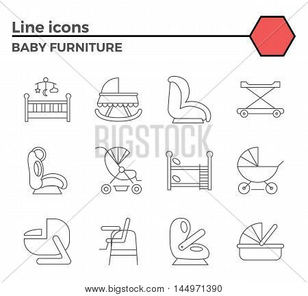 Baby furniture thin line related icons set on white background. Simple mono linear pictogram pack Stroke vector logo concept for web graphics.
