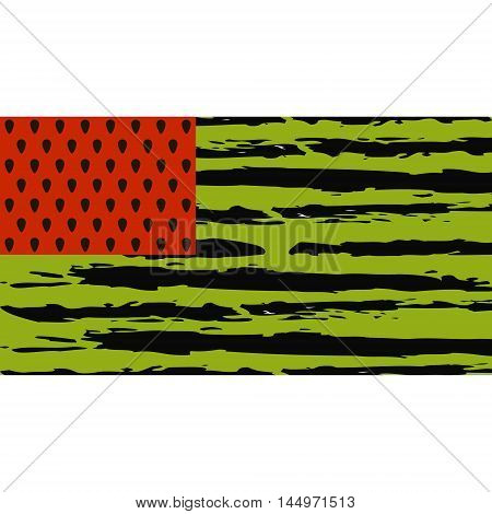 symbol of summer watermelon flag, the red pulp from the watermelon seeds, dark green stripes of the rind is made in the form of the flag of the USA. Vector illustration for print or website design.