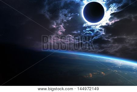 Abstract scientific background - planet in space, nebula and stars. Elements of this image furnished by NASA nasa.gov