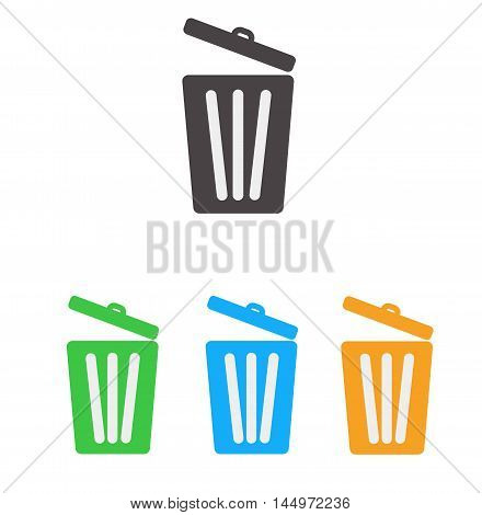 Trash icon, Bin icon, Trash icon set on white background