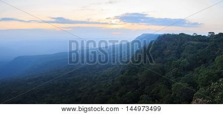 Scenic panorama view point of the winter mountains in sunset time at Phu Kradueng National Park in Loei Province of thailand