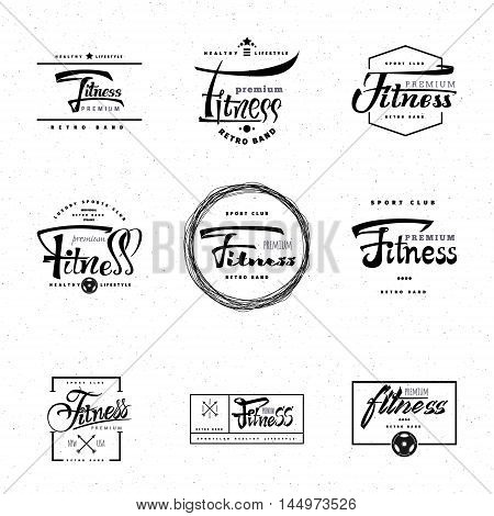 Fitness - insignia is made with the help of lettering and calligraphy skills, use the right typography and composition.