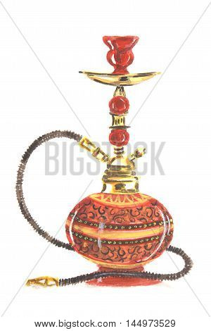 Watercolor colorful hookah. Eastern exotic smoking pipe with turkish ornament. Beautiful art for decoration.