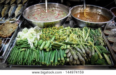 very typical Thai food call fish gravy and boil vegetable taste realy good