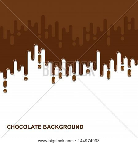 Vector flat background. Dripping chocolate backdrop. Colorful design illustration. Paint illustration