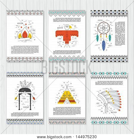 Ethnic vector cards. Native american templates with decorative borders. Culture elements. Background for aztec poster, banner, invitation. Indian symbols. Tribal design