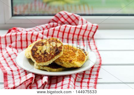 Cottage cheese pancakes, traditional  Russian cuisine. selective focus