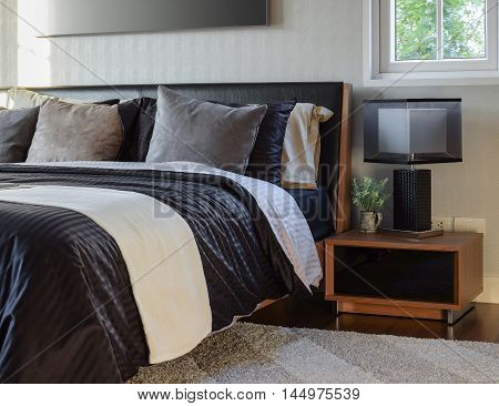 Stylish Bedroom Interior Decorative With Modern Bedside Table Lamp