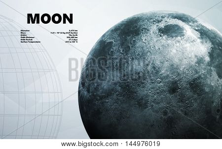 Moon. Minimalistic style set of planets in the solar system. Elements of this image furnished by NASA