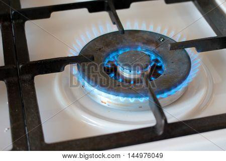 scene bright flame burner gas kitchen stove