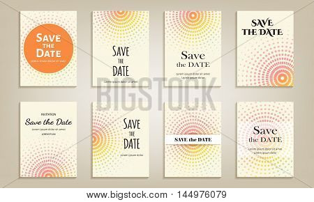 Set of cards save the date. Template with color circular pattern of dots. Vector illustration.