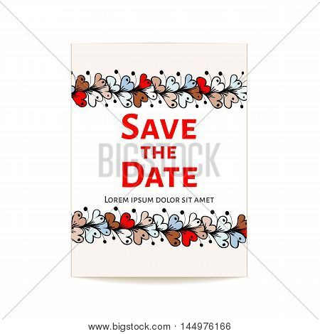 Card Save the Date. Color vector illustration. Rectangular flower frame doodle pattern made by hand.