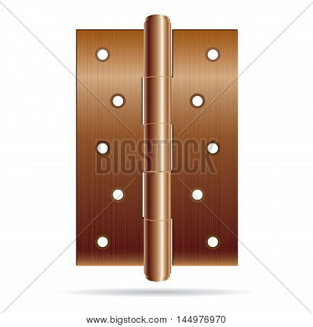 Hinges bronze color with steel texture isolated on white background.