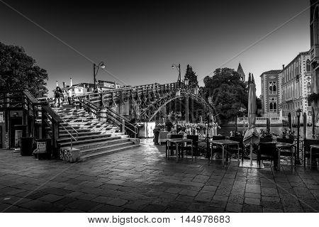 Venice Italy - August 13 2016: Venice Italy. Rialto bringe on Grand canal