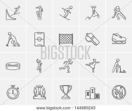 Winter sport sketch icon set for web, mobile and infographics. Hand drawn winter sport icon set. Winter sport vector icon set. Winter sport icon set isolated on white background.