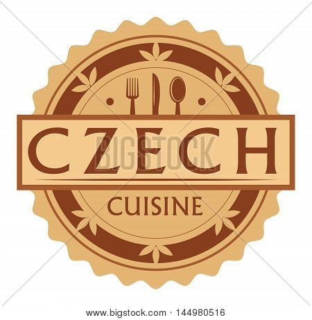 Abstract stamp or label with the text Czech Cuisine written inside, traditional vintage food label, with spoon, fork, knife symbols, vector illustration