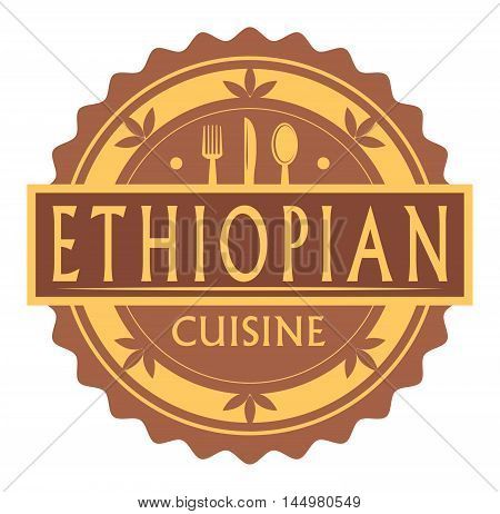 Abstract stamp or label with the text Ethiopian Cuisine written inside, traditional vintage food label, with spoon, fork, knife symbols, vector illustration
