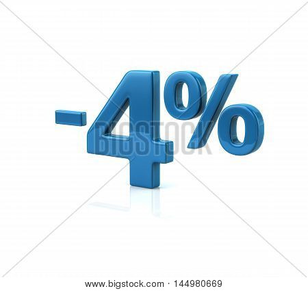 3d illustration of four percent discount in blue letters on white background