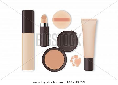 Cosmetic group nude tone isolated on white background.