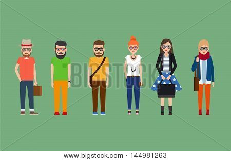Flat hipster girls and boys set. Vector illustration