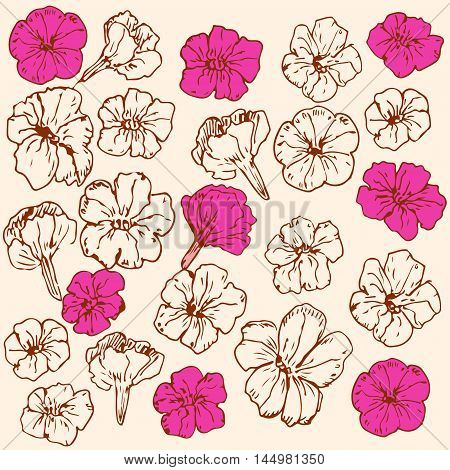 Vector hand drawn ornament made with colored and uncolored petunias. Floristry theme design element decoration of public places wallpaper textile.