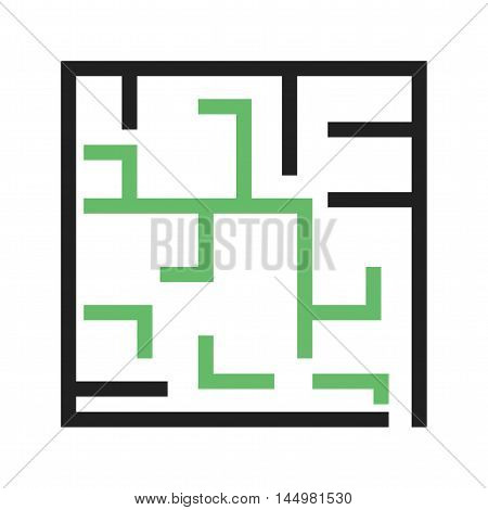 Maze, challenge, solution icon vector image. Can also be used for startup. Suitable for mobile apps, web apps and print media.
