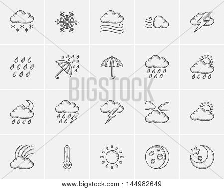 Weather sketch icon set for web, mobile and infographics. Hand drawn weather icon set. Weather vector icon set. Weather icon set isolated on white background.