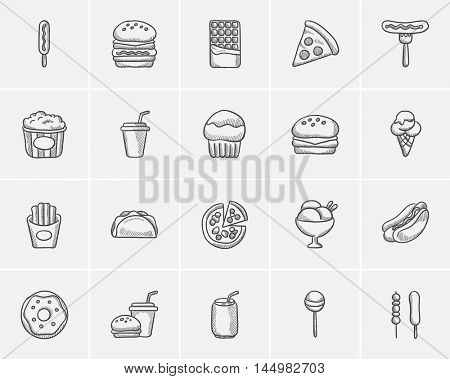 Junk food sketch icon set for web, mobile and infographics. Hand drawn junk food icon set. Junk food vector icon set. Junk food icon set isolated on white background.