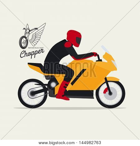 Biker with motorcycle in flat style with logotype silhouette, vector illustration