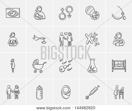 Maternity sketch icon set for web, mobile and infographics. Hand drawn maternity icon set. Maternity vector icon set. Maternity icon set isolated on white background.