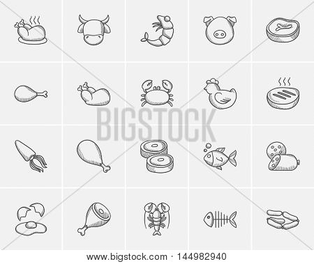 Food and drink sketch icon set for web, mobile and infographics. Hand drawn food and drink icon set. Food and drink vector icon set. Food and drink icon set isolated on white background.