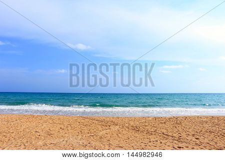 Beautiful beach on the sea and blue sky under the afternoon sun light ,Mea Ramphueng beach -Rayong thailand
