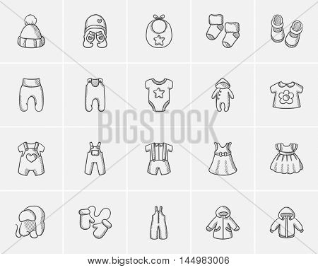 Baby clothes sketch icon set for web, mobile and infographics. Hand drawn baby clothes icon set. Baby clothes vector icon set. Baby clothes icon set isolated on white background.