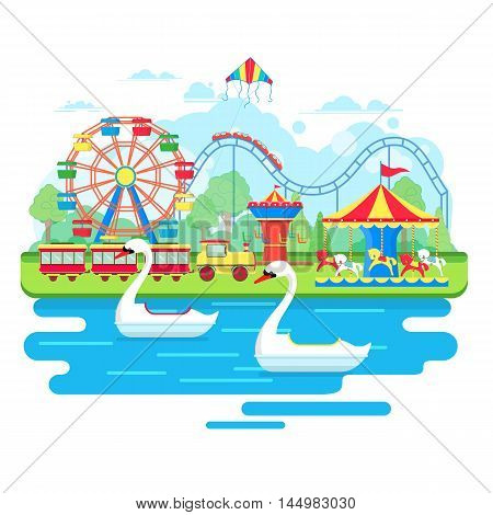 Amusement park concept with ferris wheel and carousels. Vector illustration in flat style