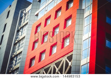 Abstract Background Facade Modern Modernistic Red Building