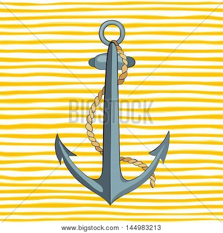 Anchor and rope on striped yellow background. Vector illustration.