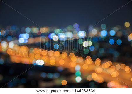 Colorful night of abstract bokeh building at Bangkok Thailand