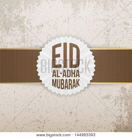 Eid al-Adha Mubarak Label with Ribbon. Vector Illustration